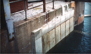Broken concrete bulkhead repaired by Lindahl Marine
